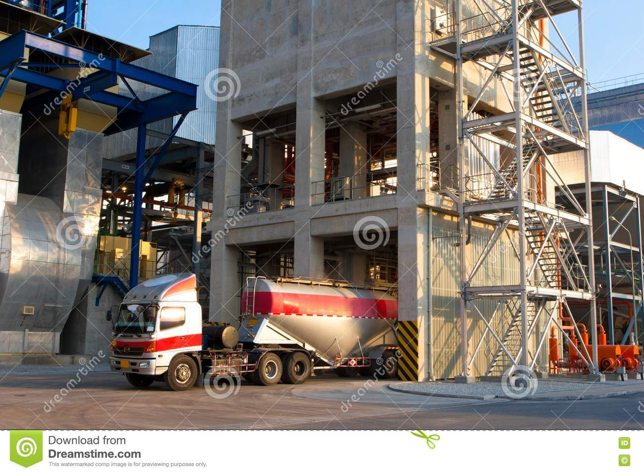 Cement Loading Plant : Mixer concrete loading tower plant and truck royalty free
