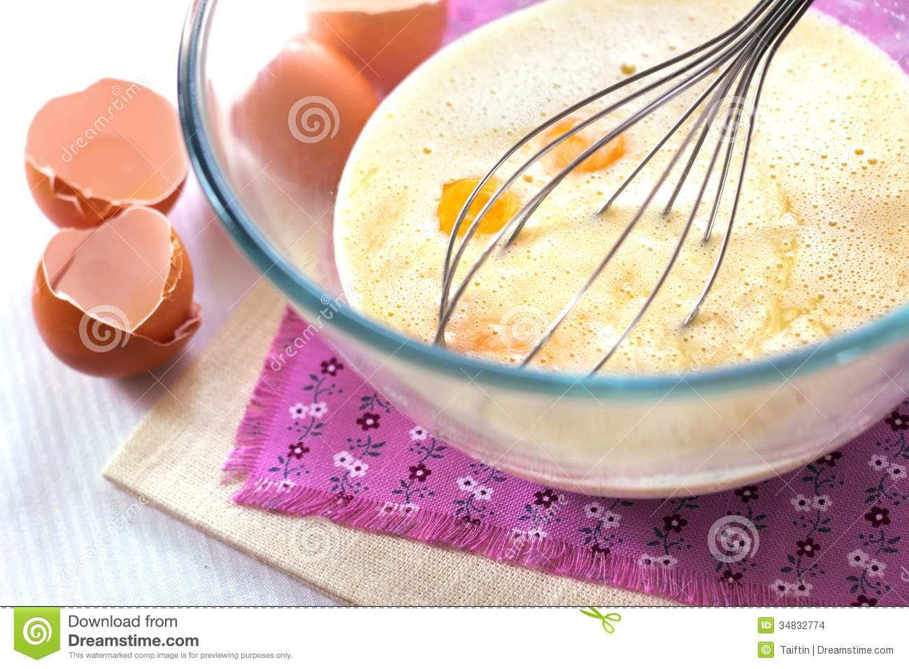 Mix Of Cream, Melt White Chocolate And Eggs Stock Images - Image ...