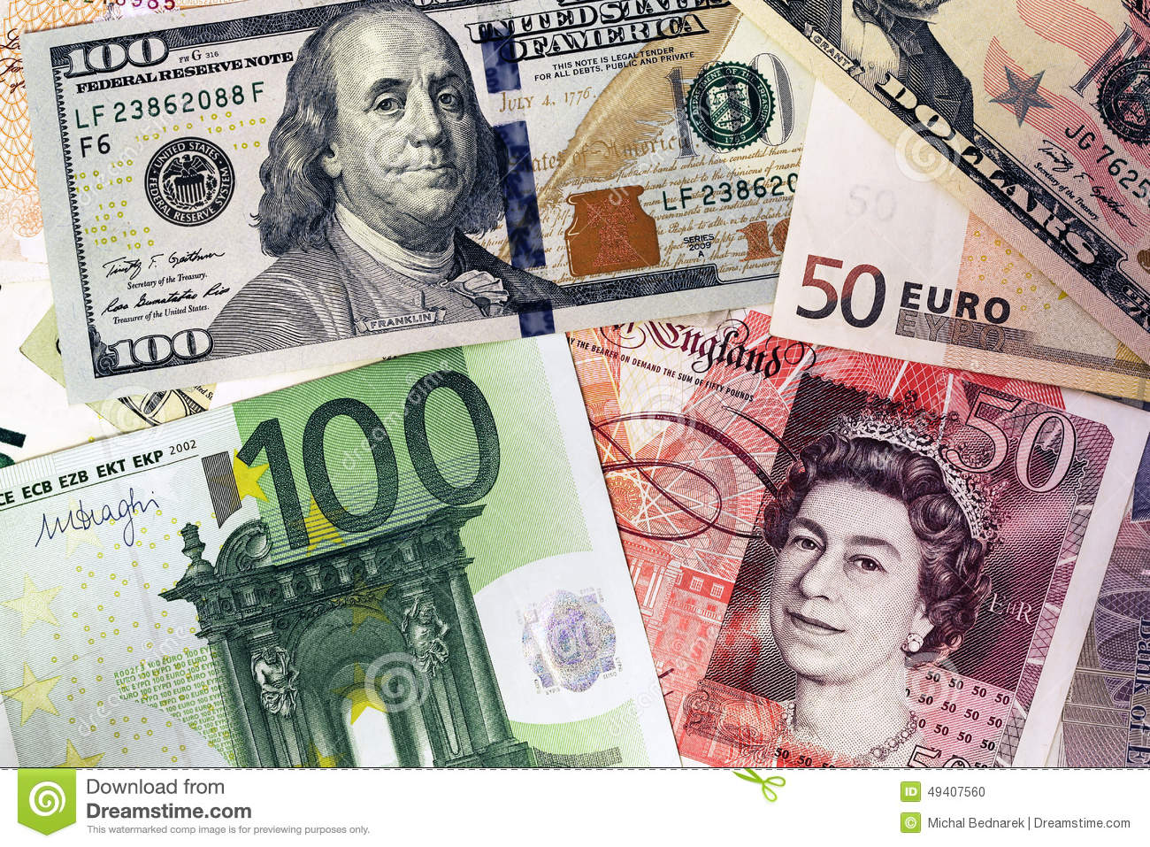 mix of currencies banknotes dollar pound sterling euro money editorial image image 49407560. Black Bedroom Furniture Sets. Home Design Ideas