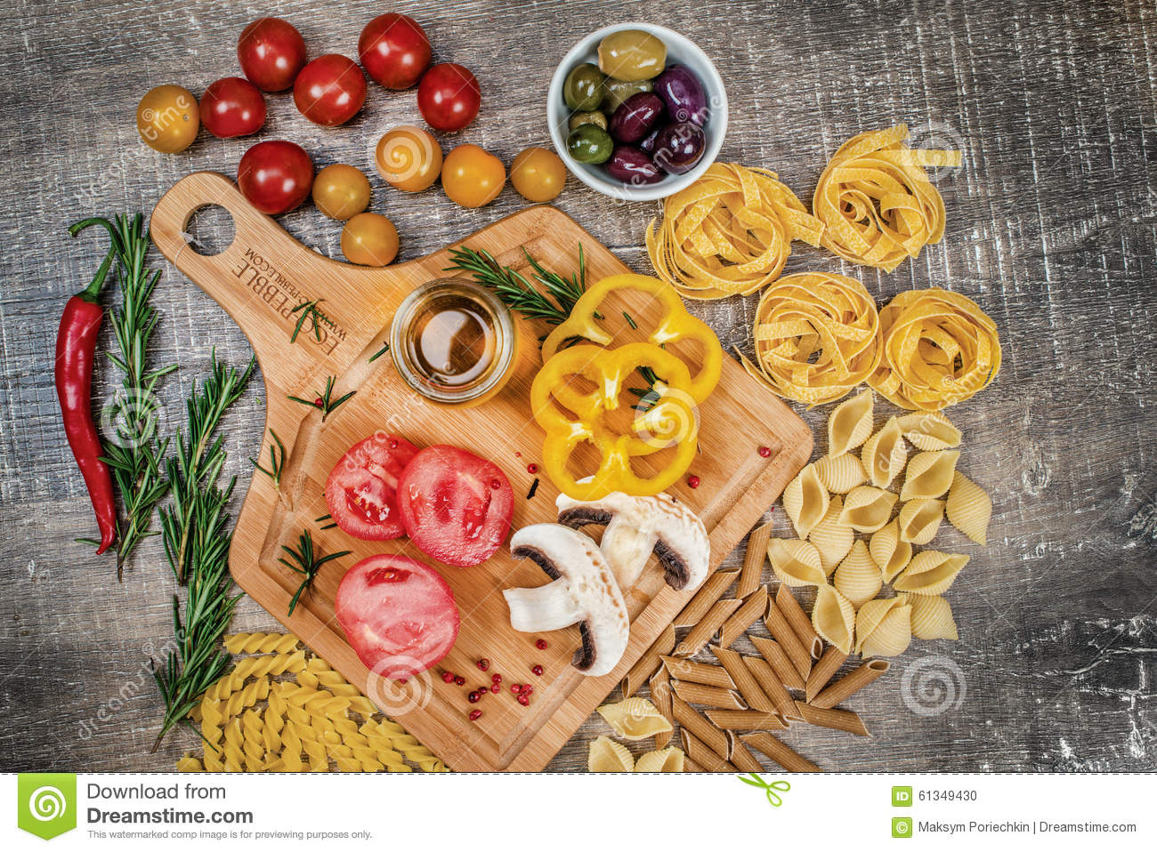 Mix different colored raw whole grain pasta and noodles. Organic