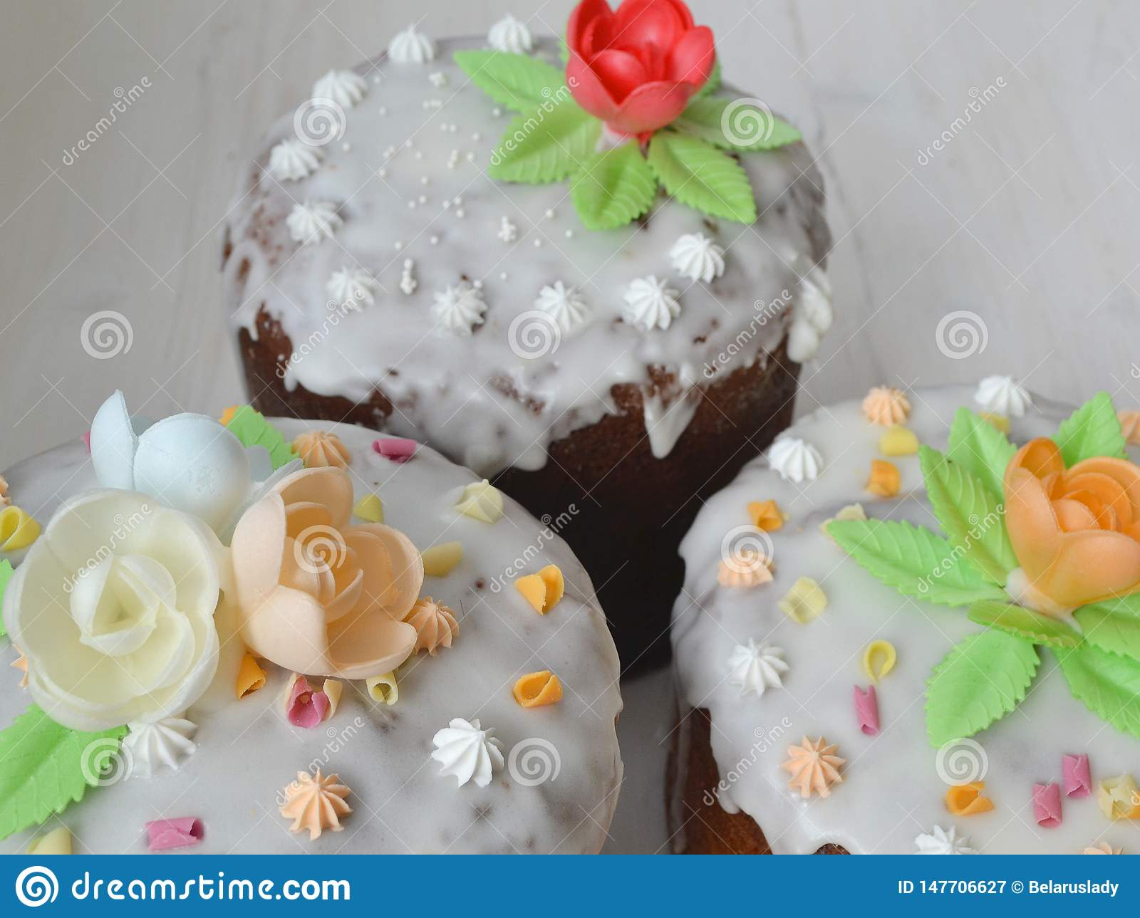 Mix of Easter cakes on a white table