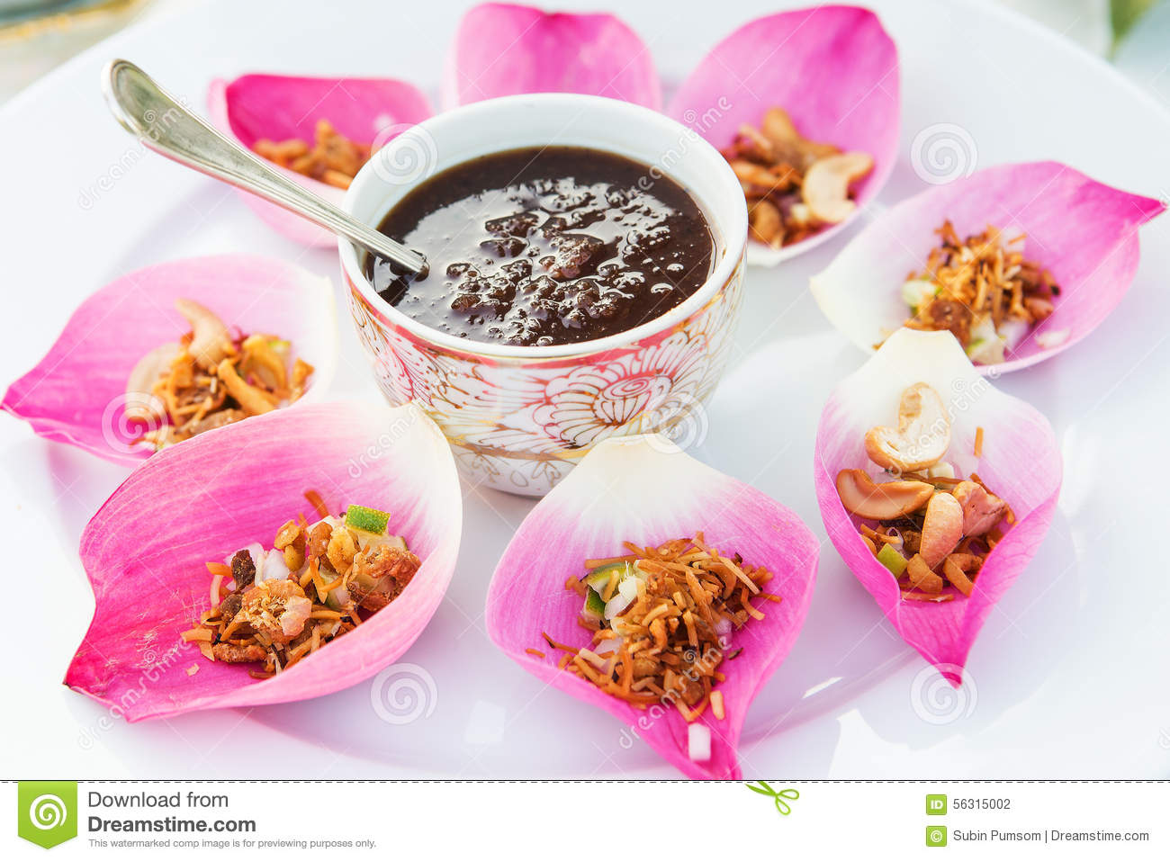 Mix Fried Rice Contained In Lotus Flower Stock Photo Image Of