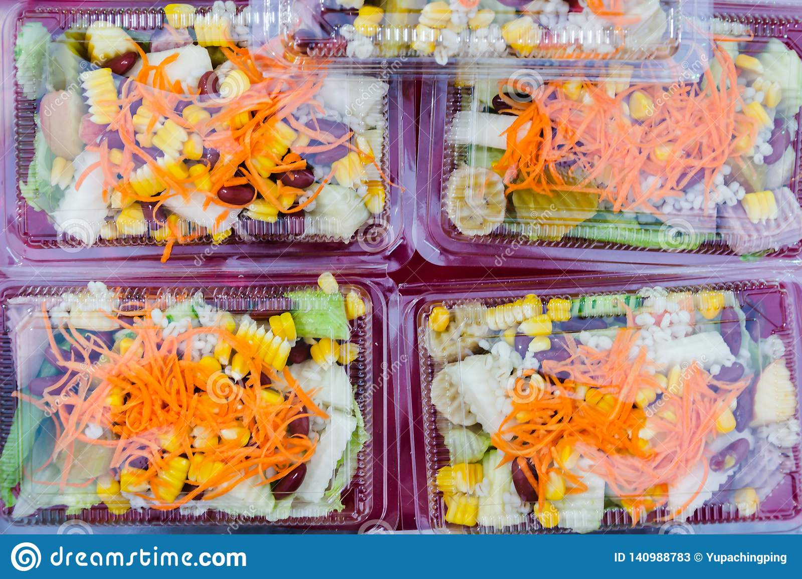 Mix fruit and vegetable salad in plastic package