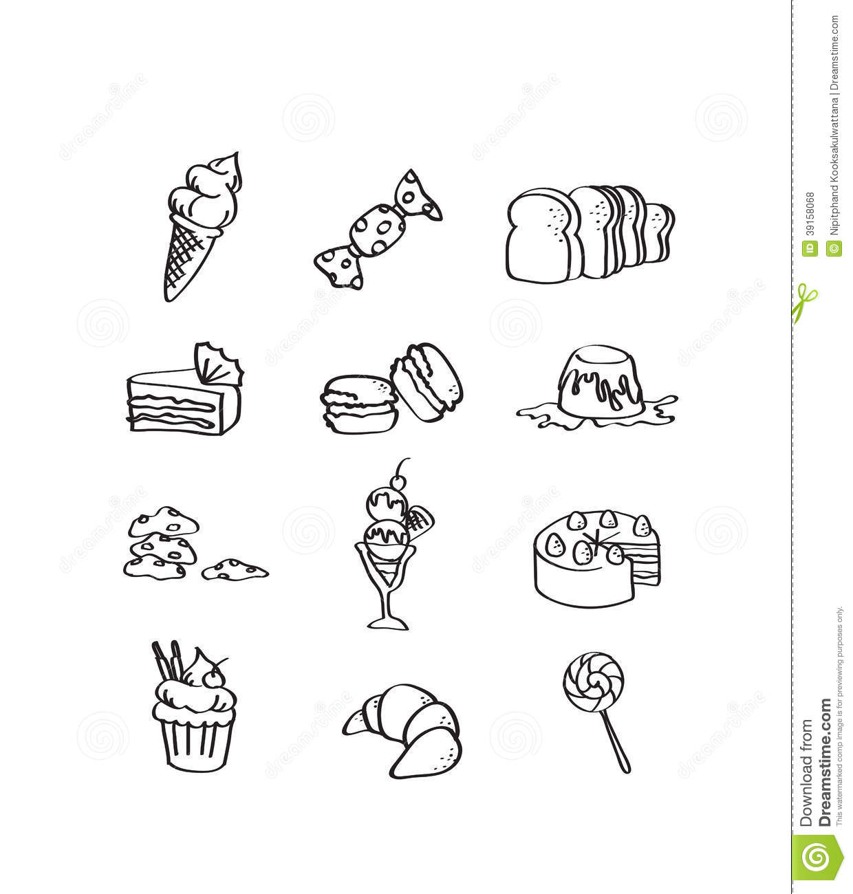 Mix Hand Draw Set Of Dessert Icon Stock Illustration ...