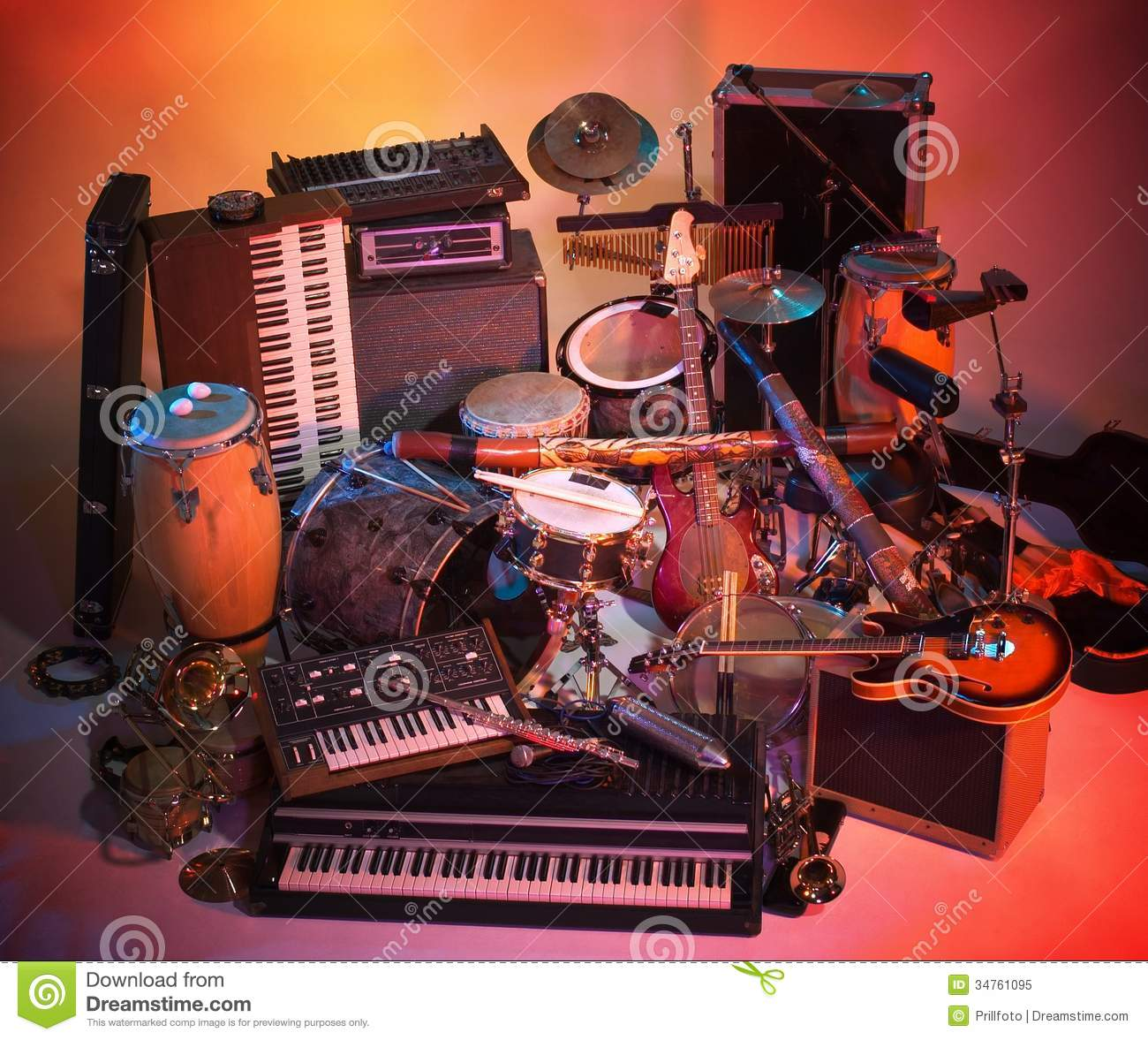 Mix Of Instruments Stock Image Image Of Large Cymbal