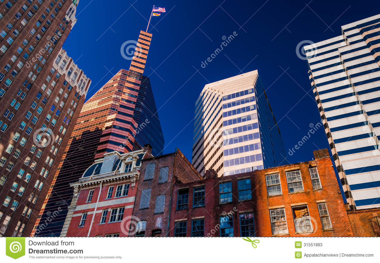 mix of modern and old buildings in baltimore maryland