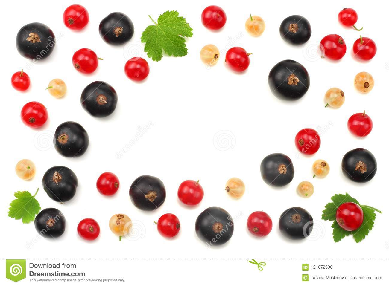 mix of red currant and black currant with green leaf isolated on a white background. healthy food. top view