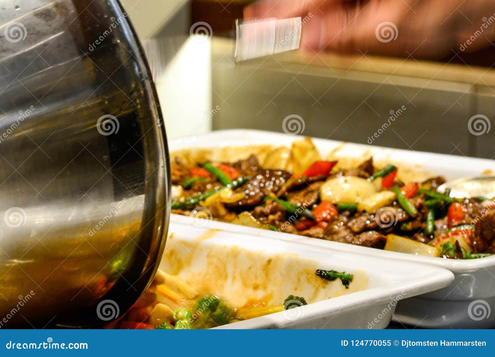 Mixed Asian food at the restaurant buffé