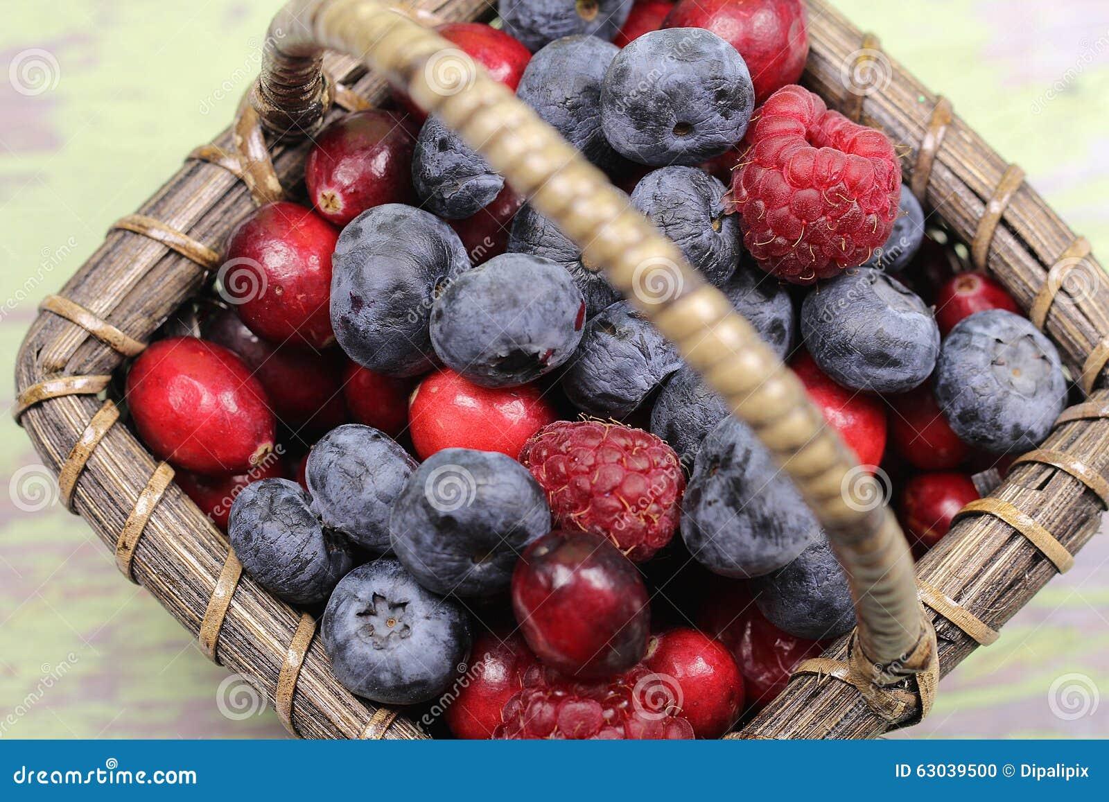 Wooden Berry Basket Mixed Berries