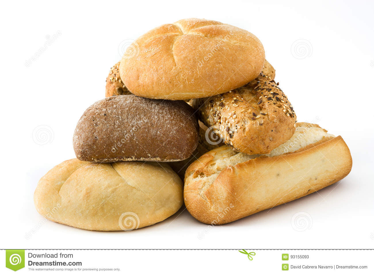 Mixed breads isolated