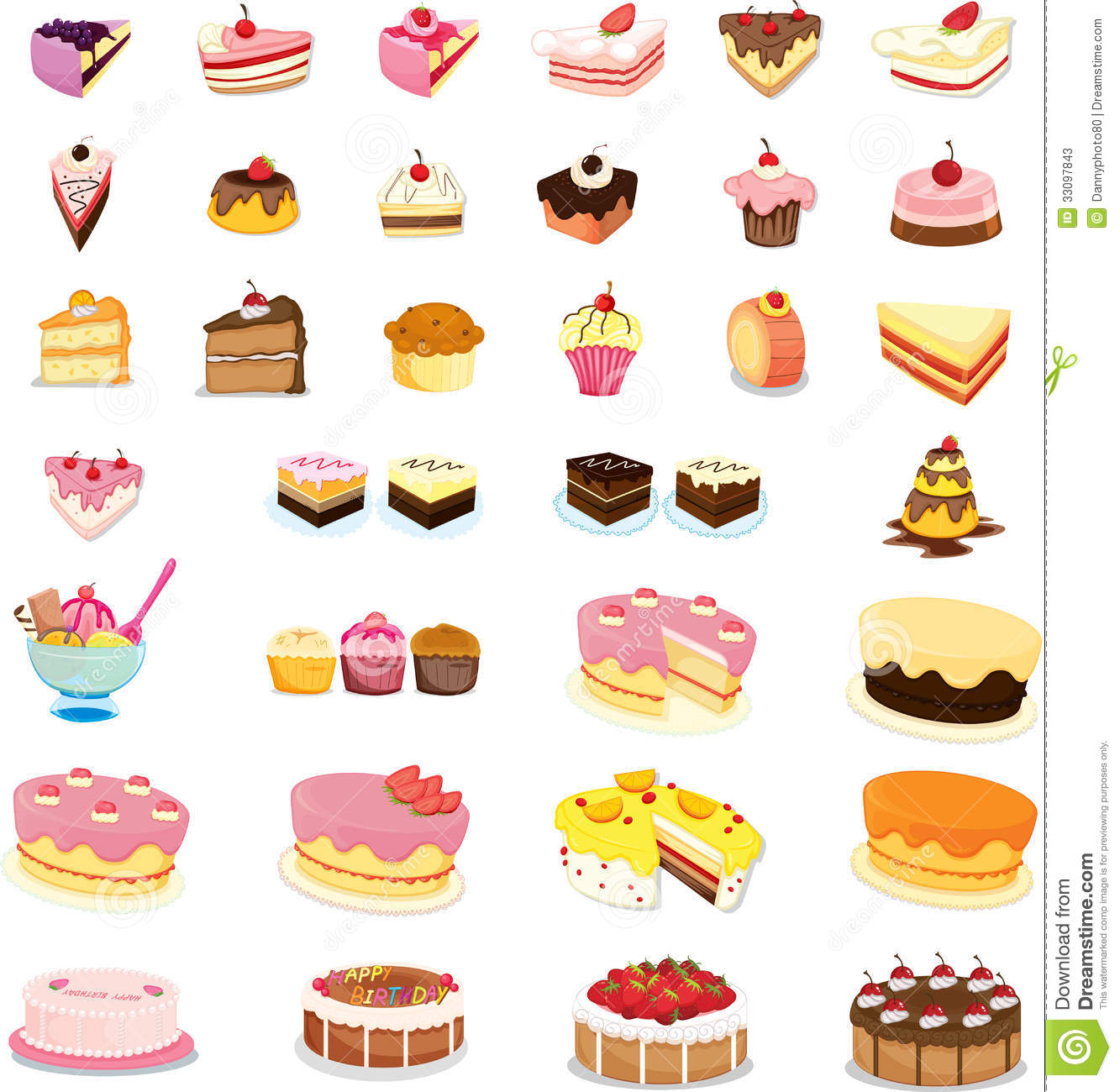 Mixed Cakes And Desserts Stock Vector Illustration Of