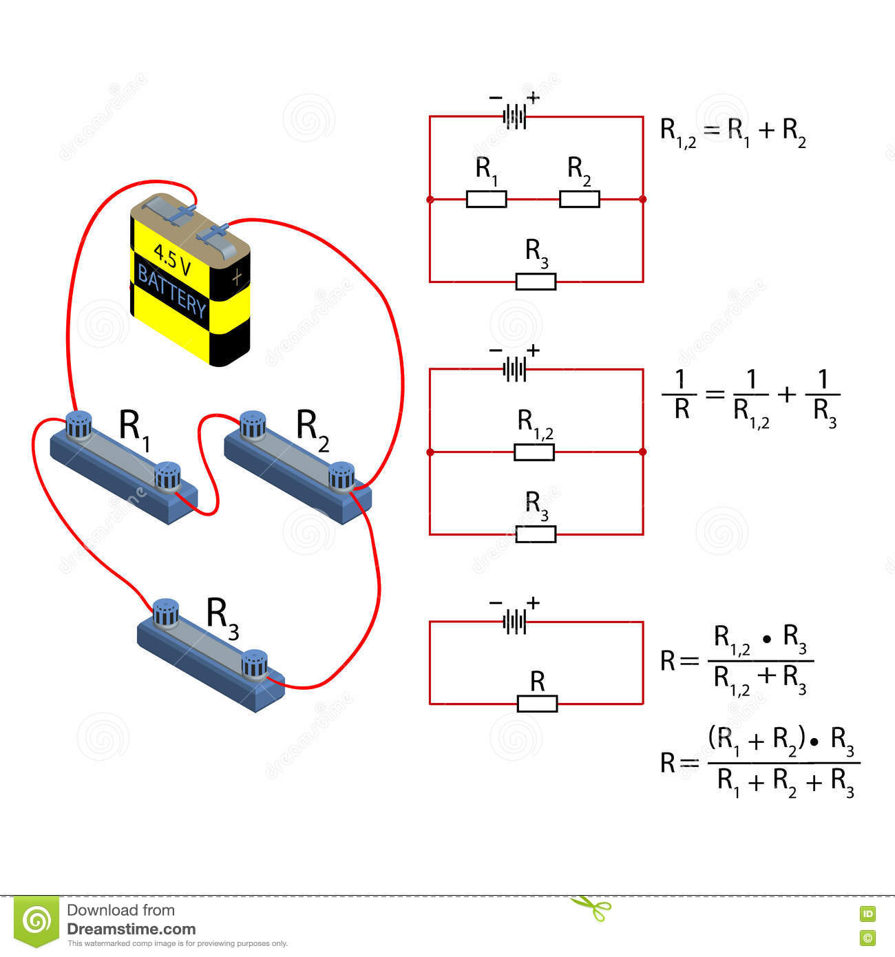 Mixed Connection Of Conductors Stock Vector Illustration How Does Someone Calculate The Total Resistance Such A Circuit Illustrates An Example To Branched