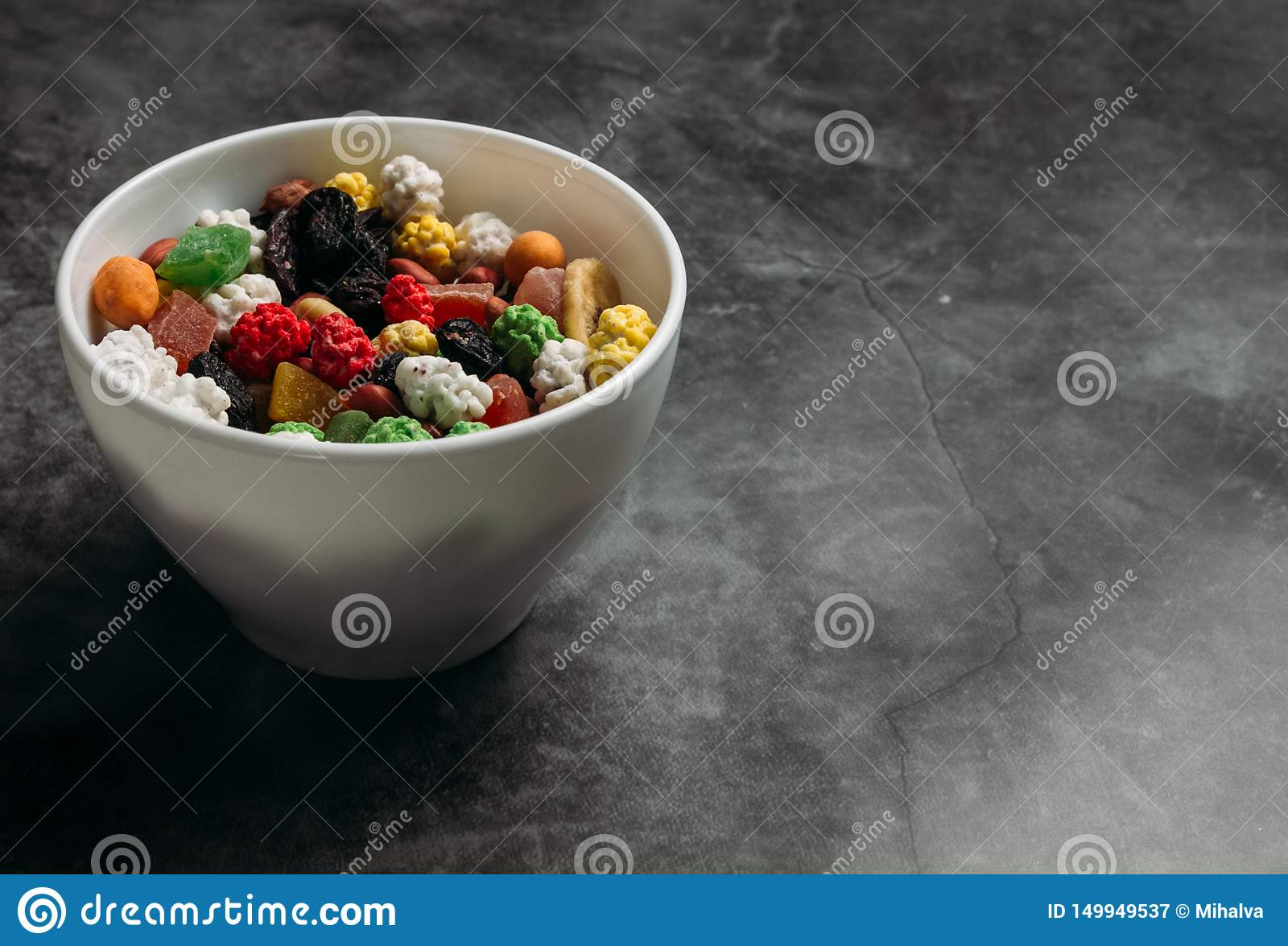 The mixed dried fruits in a bowl