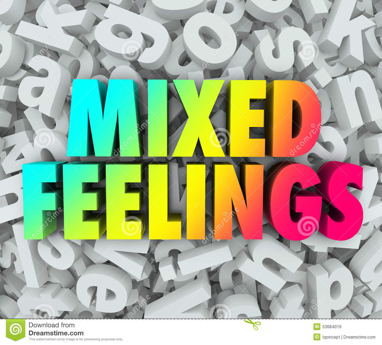 Mixed Feelings Emotions Complex Letter Jumble Background Stock