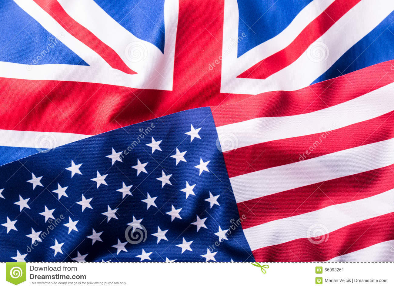 Mixed Flags of the USA and the UK. Union Jack flag