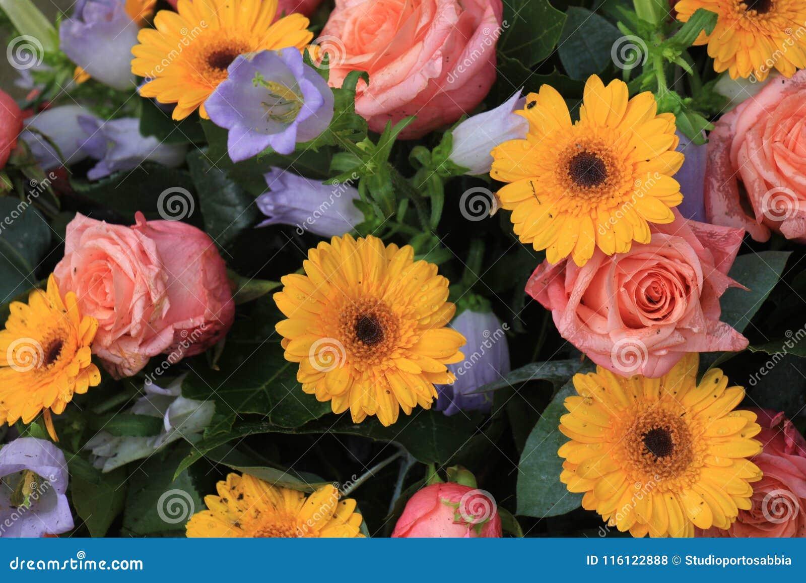 Orange And Pink Wedding Flowers Stock Photo Image Of Bouquet