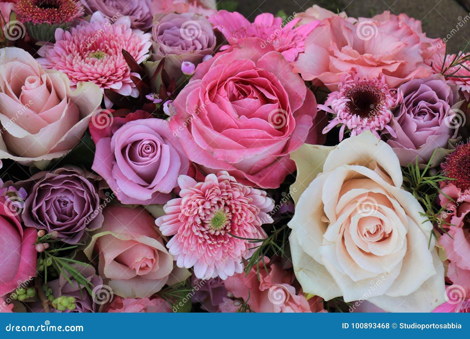 Mixed Pink Wedding Flowers Stock Photo Image Of Purple 100893468