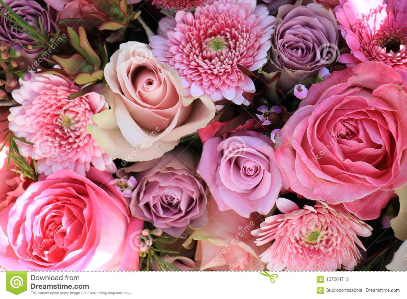 Mixed Pink Wedding Flowers Stock Image Image Of Decorations 107204713
