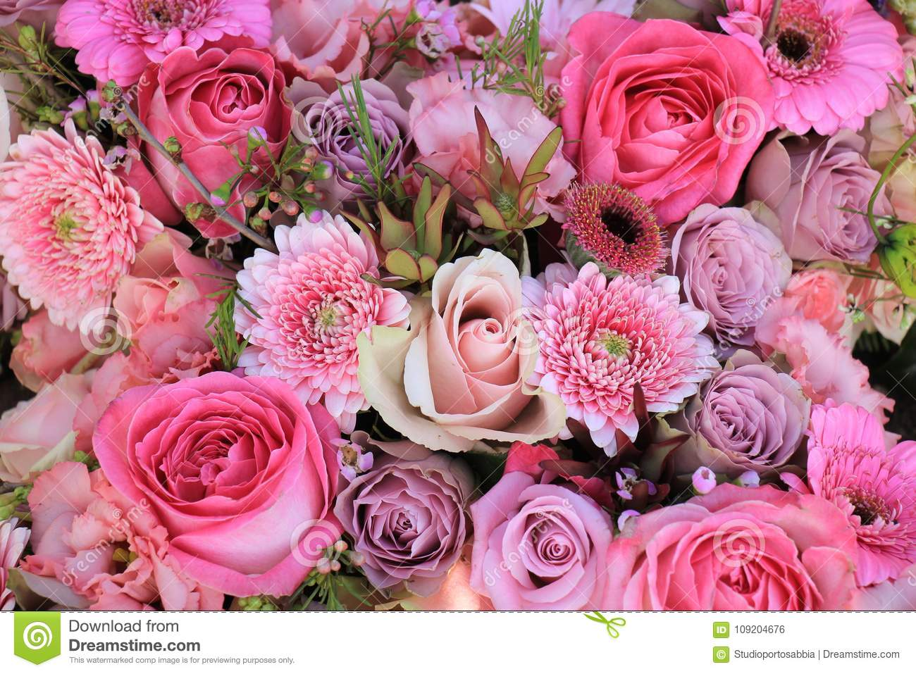 Mixed Pink Wedding Flowers Stock Photo Image Of Pink 109204676