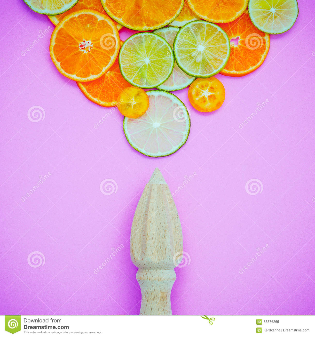 Mixed Fresh Citrus Fruits And Wooden Juicer For Summer Citrus Ju Stock Photo