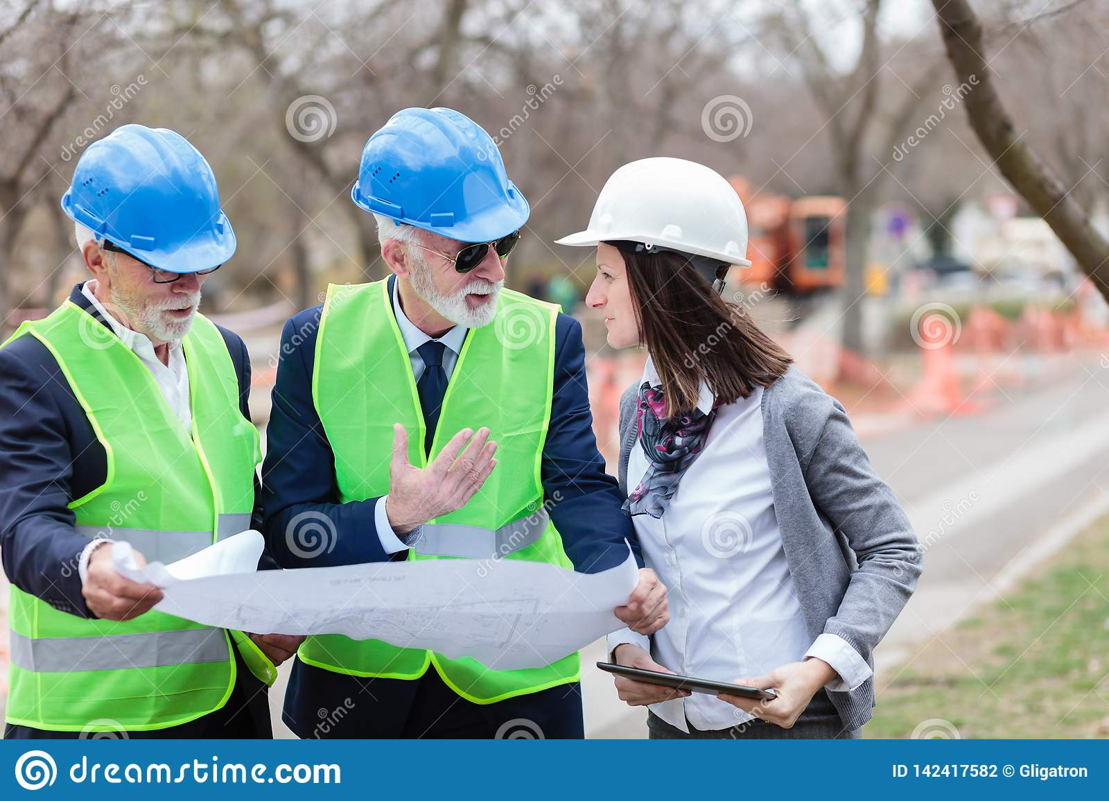 Mixed group of architects and business partners discussing project details on a construction site