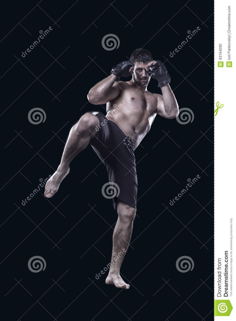 Mixed Martial Arts Fighter Kicking With Knee Isolated ...