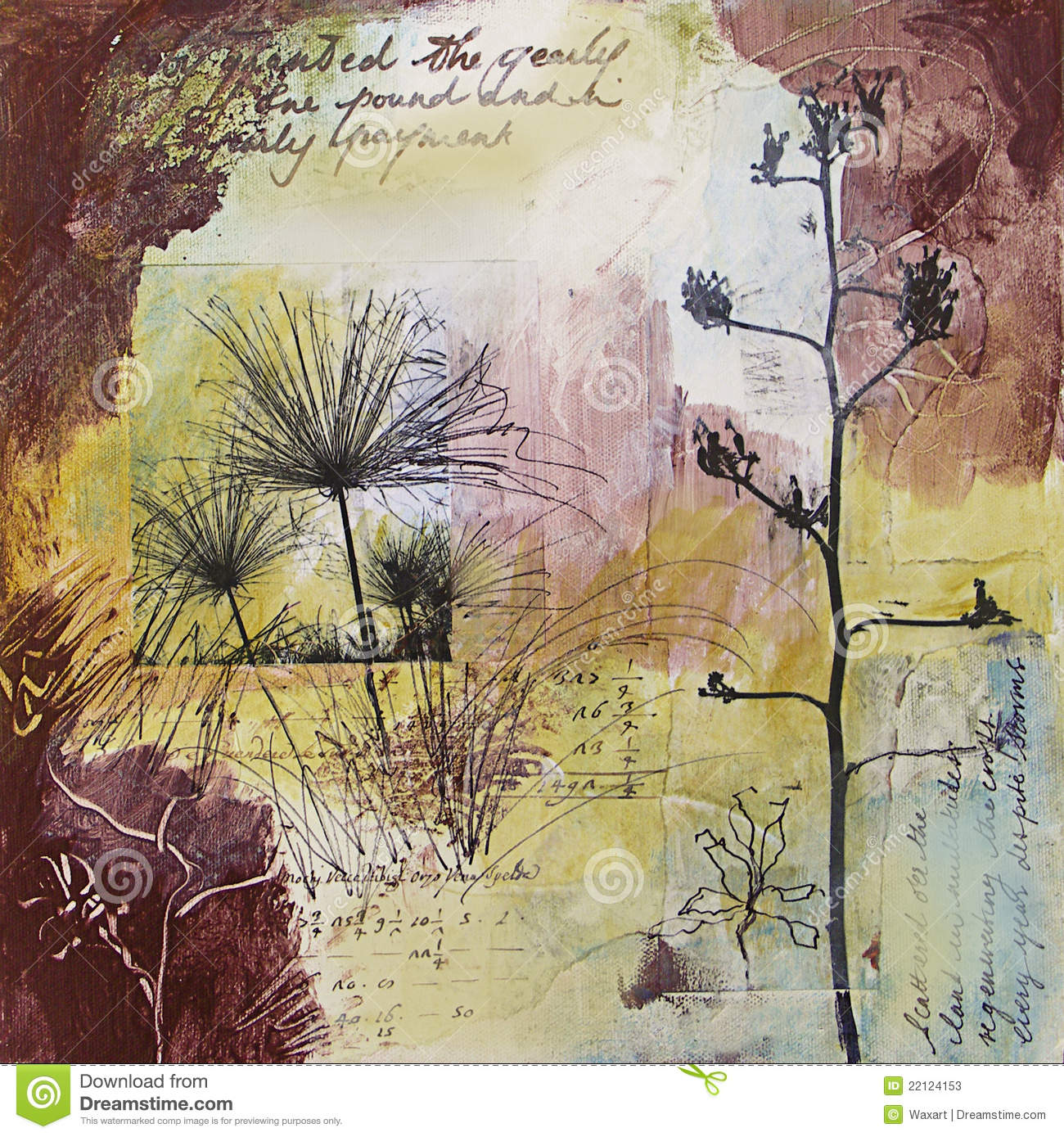 Mixed Media Abstract Painting With Seedheads Stock