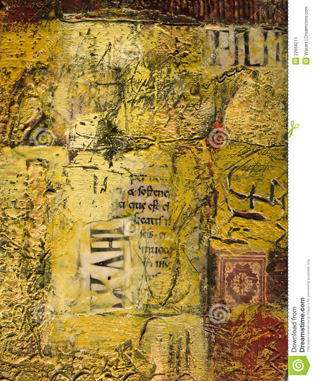 mixed media abstract painting with text and wax stock