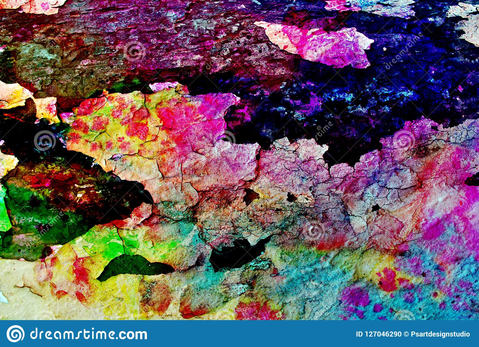 Mixed media artwork, abstract colorful artistic painted layer in blue, green, yellow, purple color palette on grunge black cracks