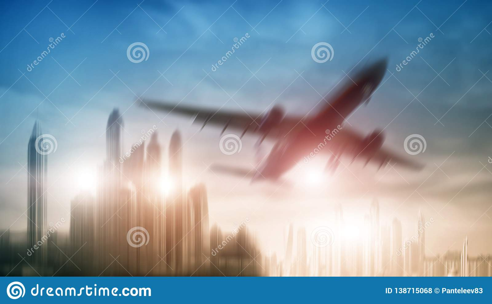 Mixed Media double exposure background. Airplane on city background.