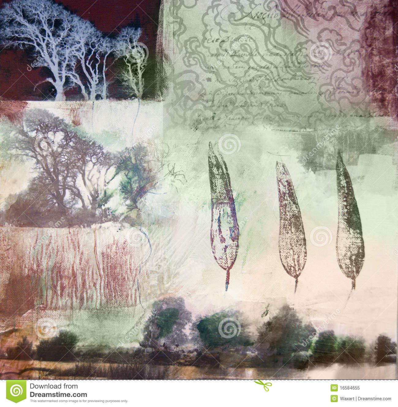 Mixed media painting of trees and leaves