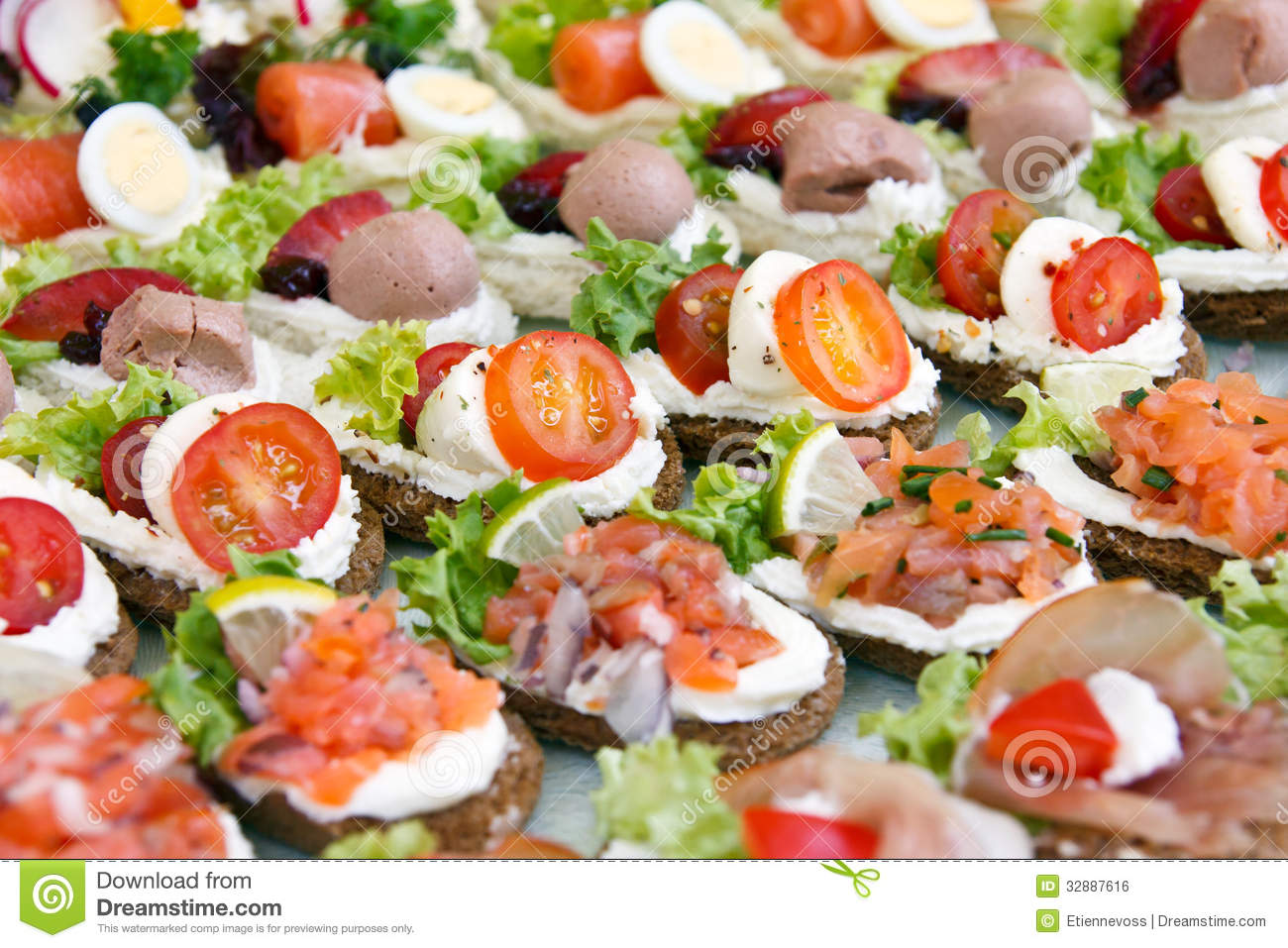 Mixed mini canapes stock photo image of buffet fresh for What is a canape plate used for