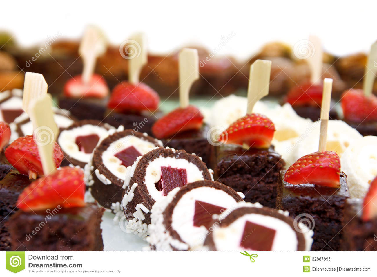 mixed mini sweet canapes royalty free stock photo