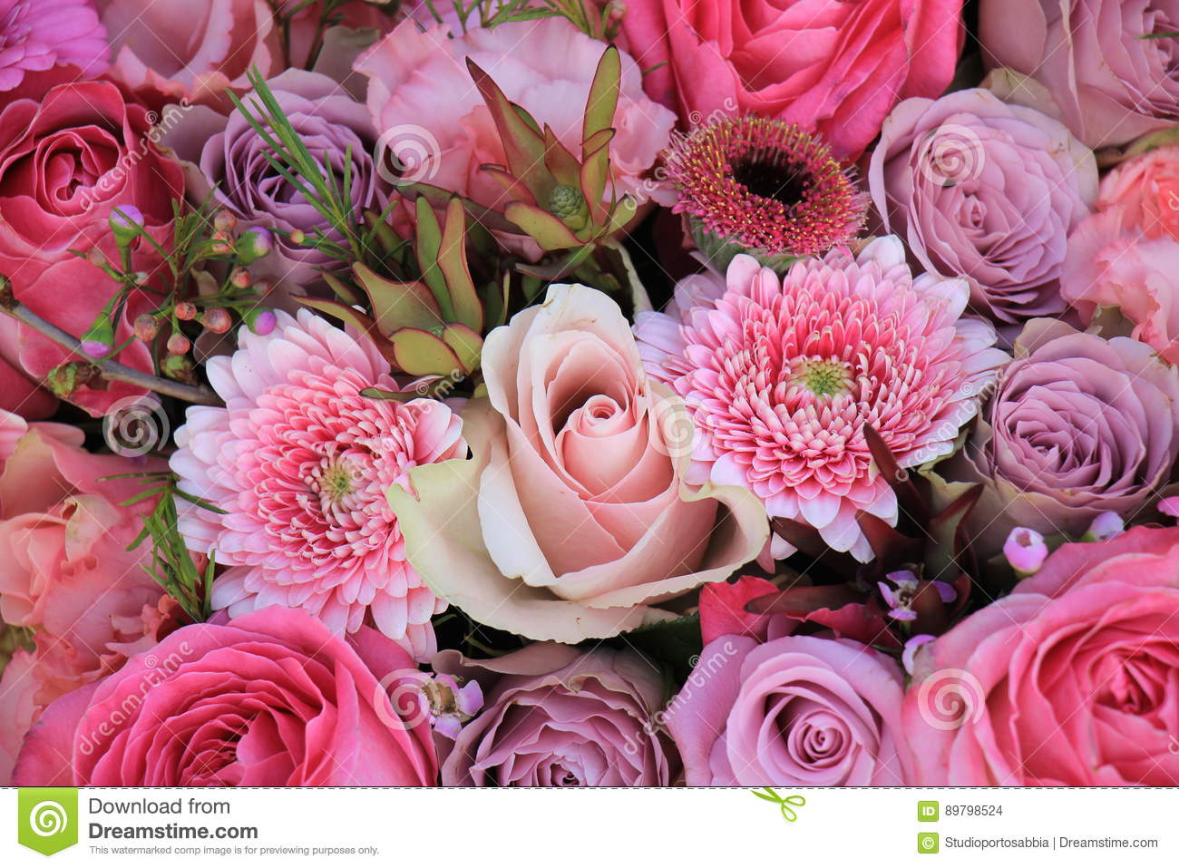 Mixed pink wedding flowers stock photo. Image of flowers - 89798524