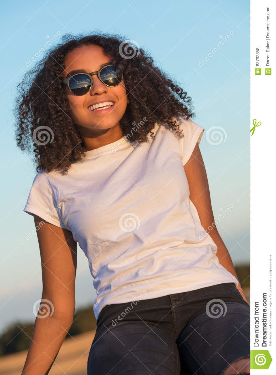 Mixed Race African American Girl Teenager With Perfect ...
