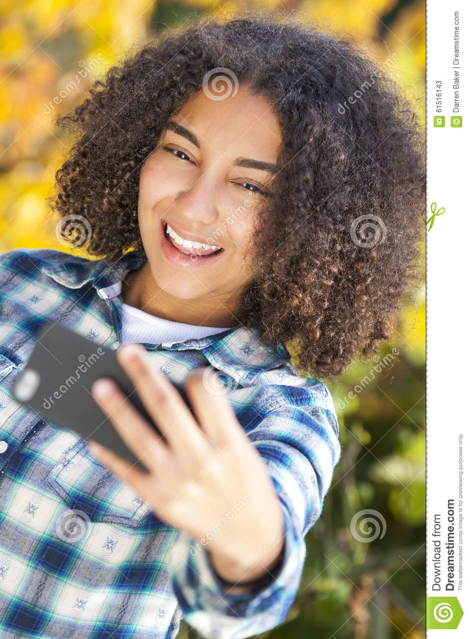 Picture Perfect American Cottage How To Decorate Interiors: Mixed Race African American Girl Teenager Taking Selfie