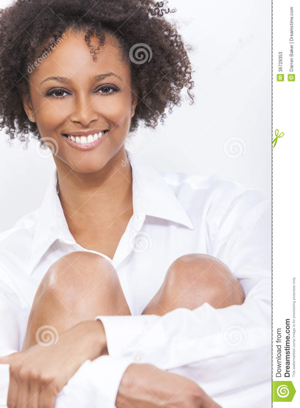 Picture Perfect American Cottage How To Decorate Interiors: Mixed Race African American Woman Girl In White Shirt