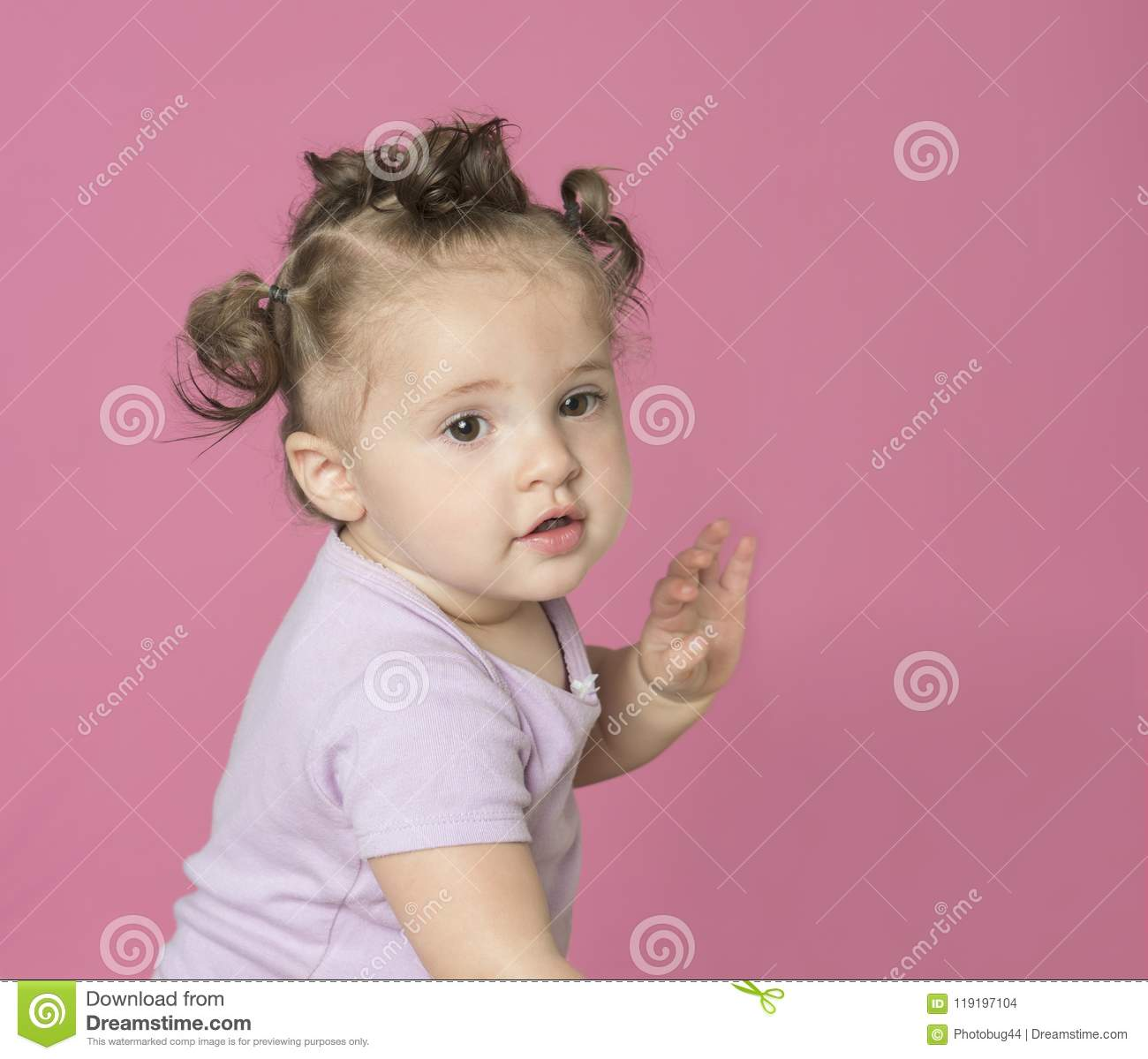 6e2b8f8c7 Mixed Race Baby Girl On Pink Stock Photo - Image of expression ...