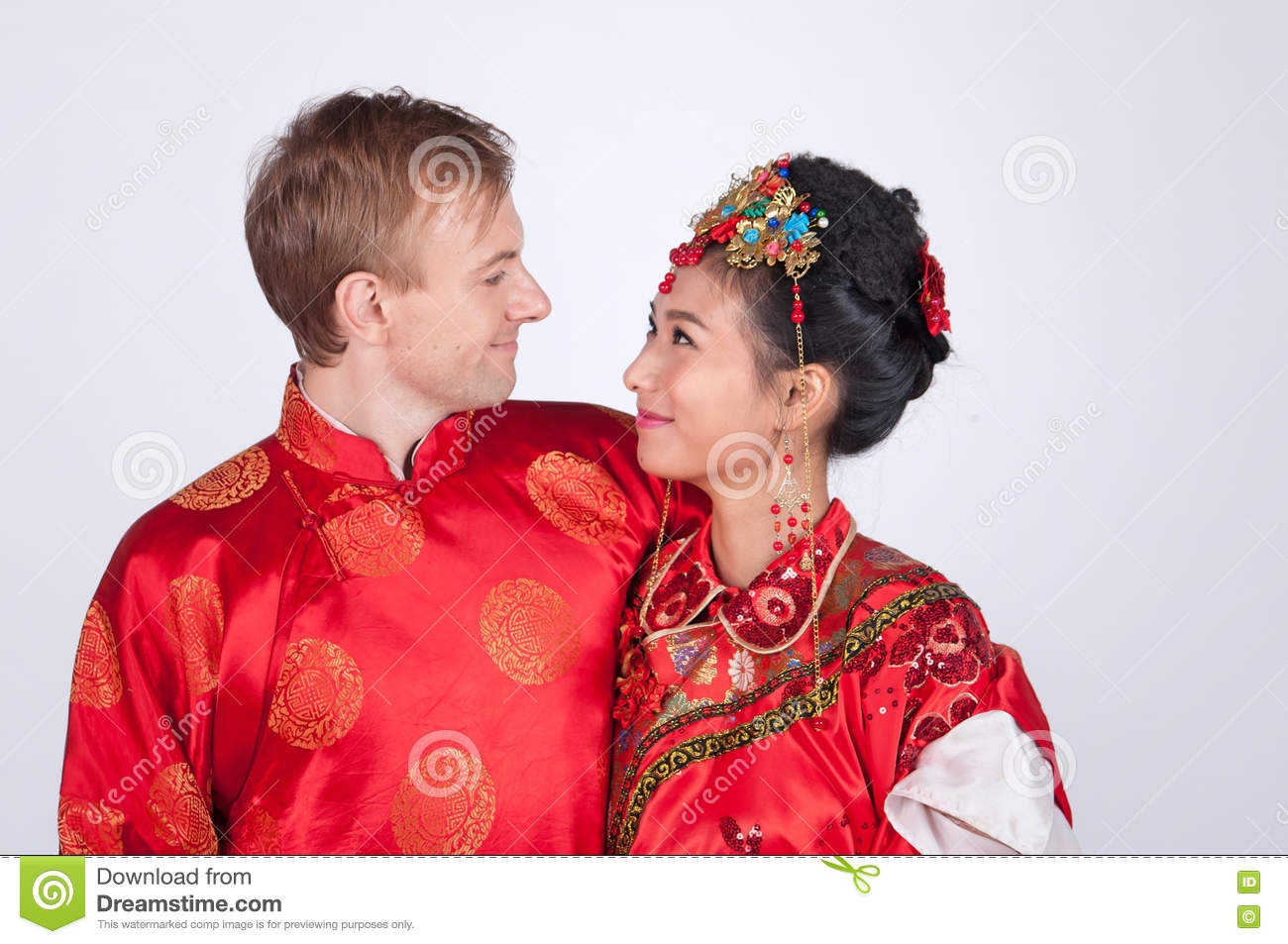 Chinese Wedding Gift For Groom : Chinese Couple In Traditional Wedding Cloth Stock Image ...