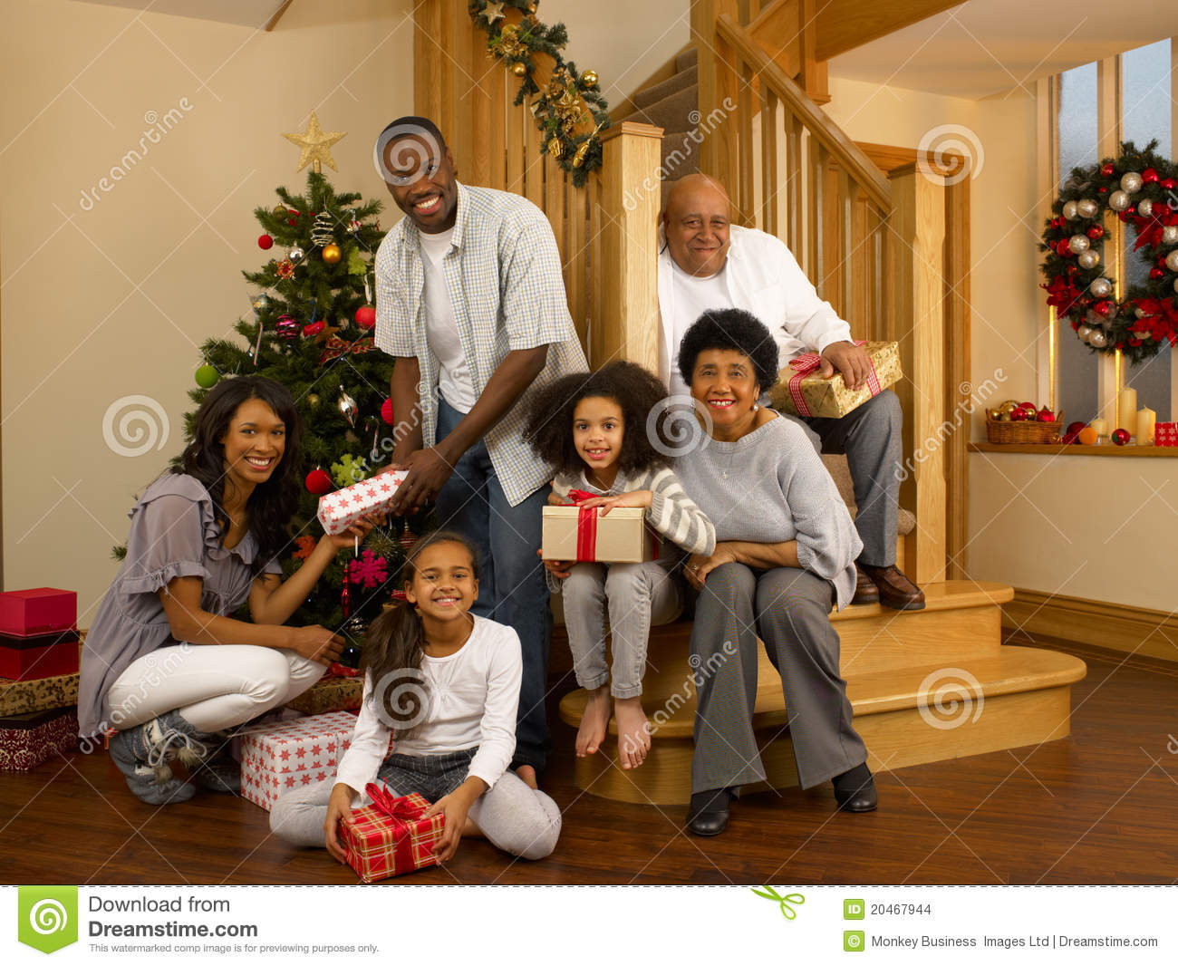 Wonderful Family Around Christmas Tree Part - 1: Royalty-Free Stock Photo. Download Mixed Race Family Around Christmas Tree  ...