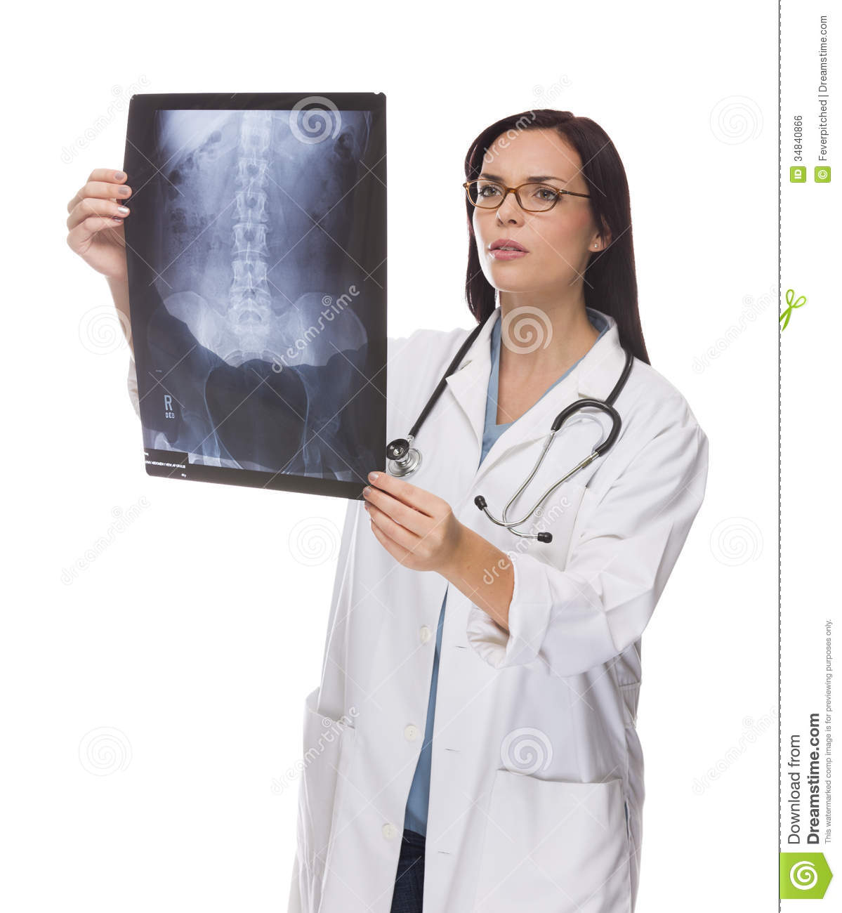 Mixed Race Female Doctor Or Nurse Reviewing X-ray On White Stock ...