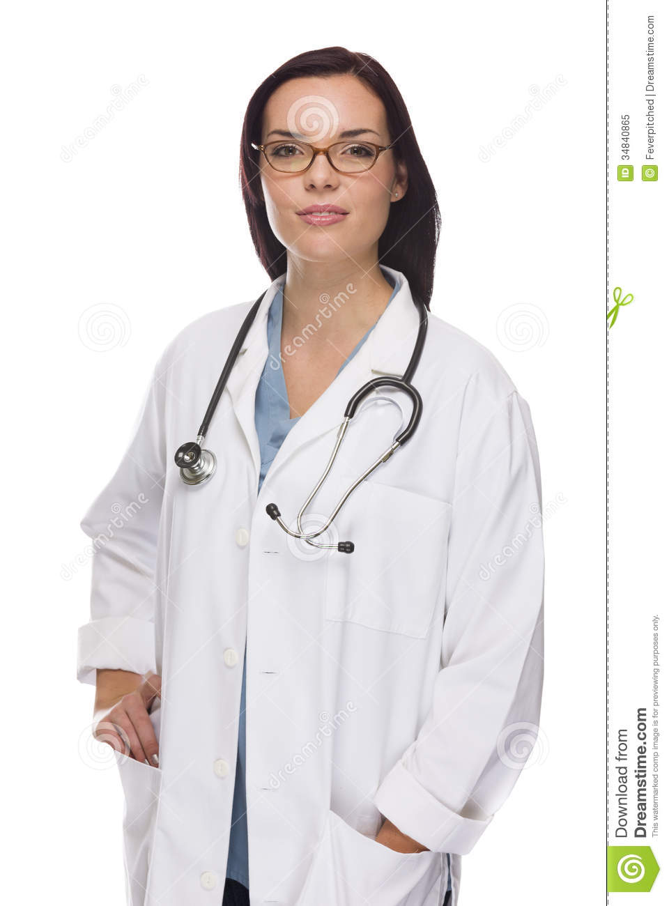Mixed Race Female Nurse Or Doctor Wearing Scrubs And Stethoscope ...