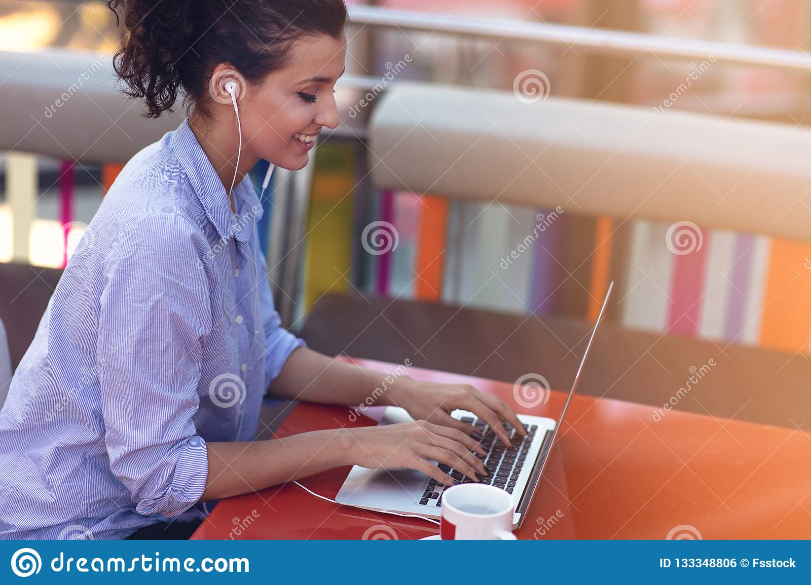 Mixed race female performing business negotiations on video chat. Telecommuting concept.