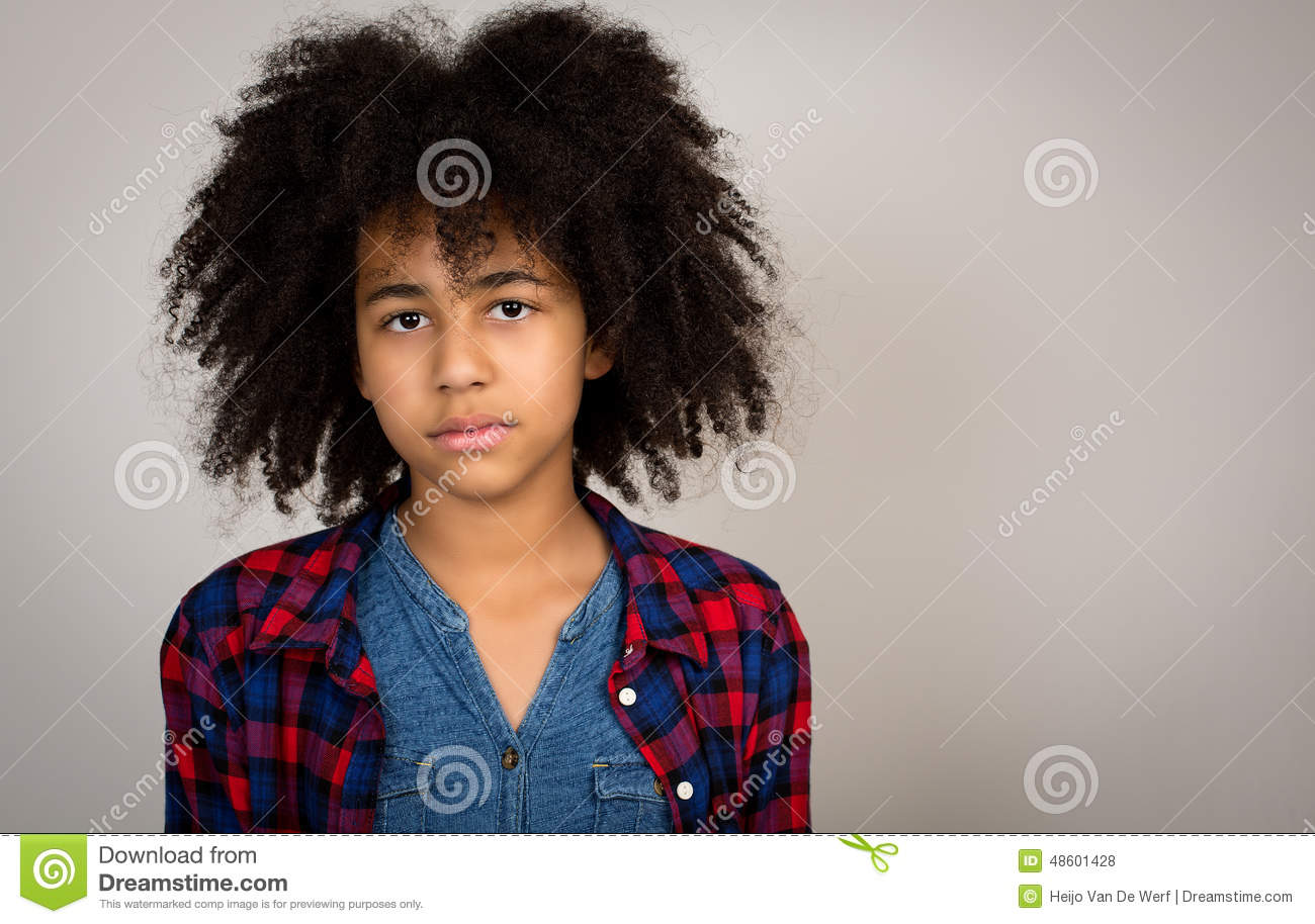 Mixed Race Girl With Whacky Afro Hair Stock Photo Image