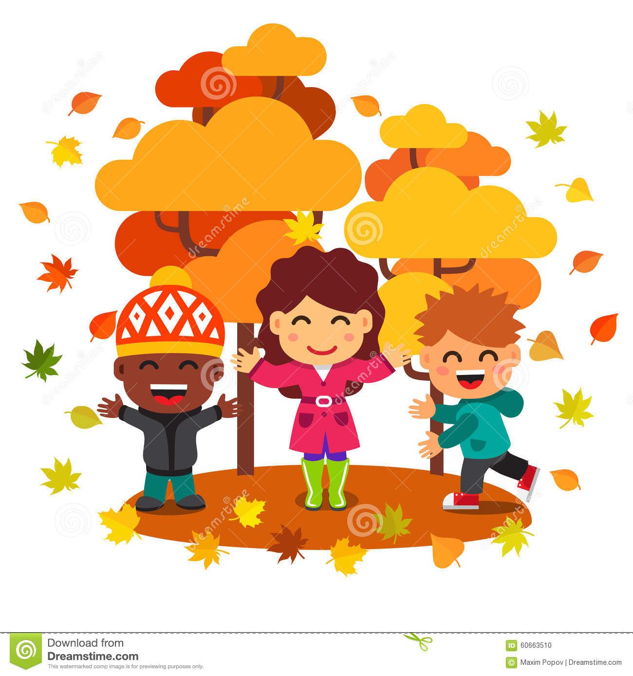 Mixed race kids having fun playing under the trees in golden autumn ...