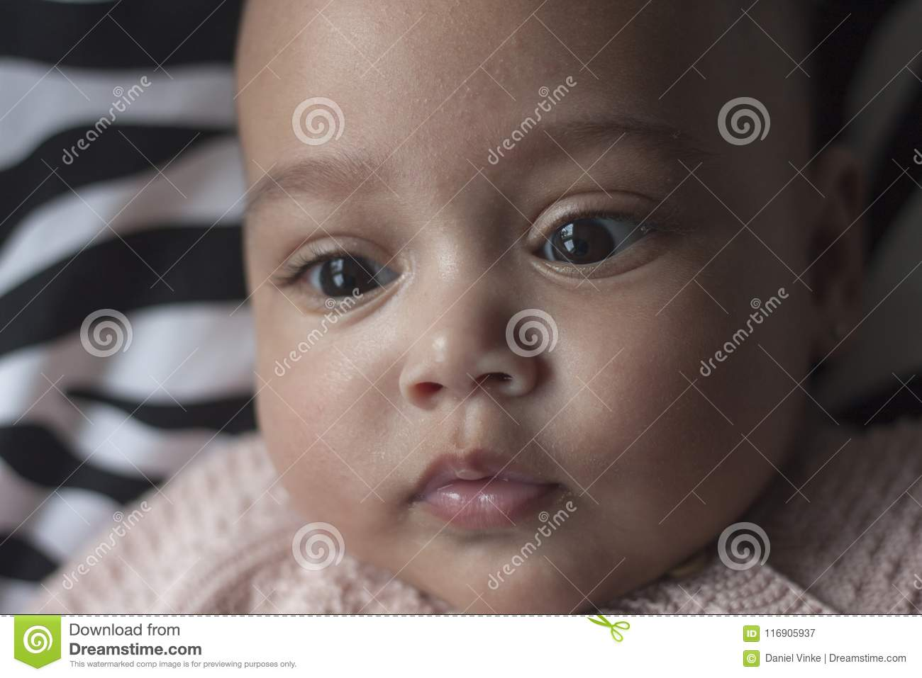 Mixed Race Little Baby Girl Face Close Up Stock Image Image Of