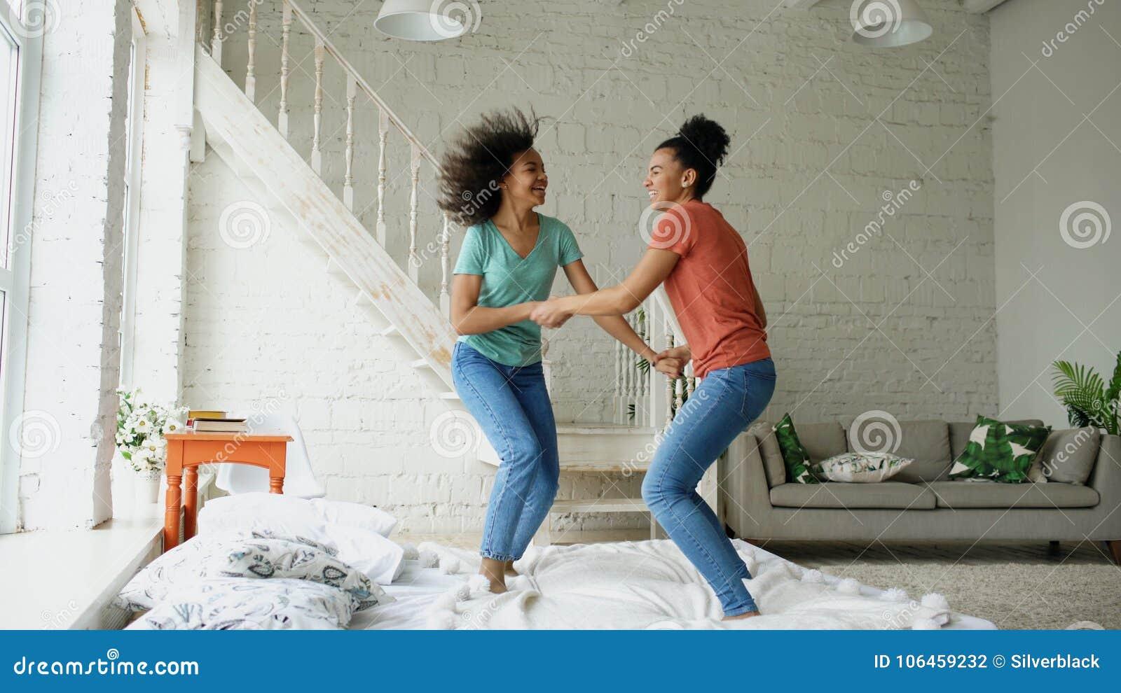 girls at home dancing Beautiful
