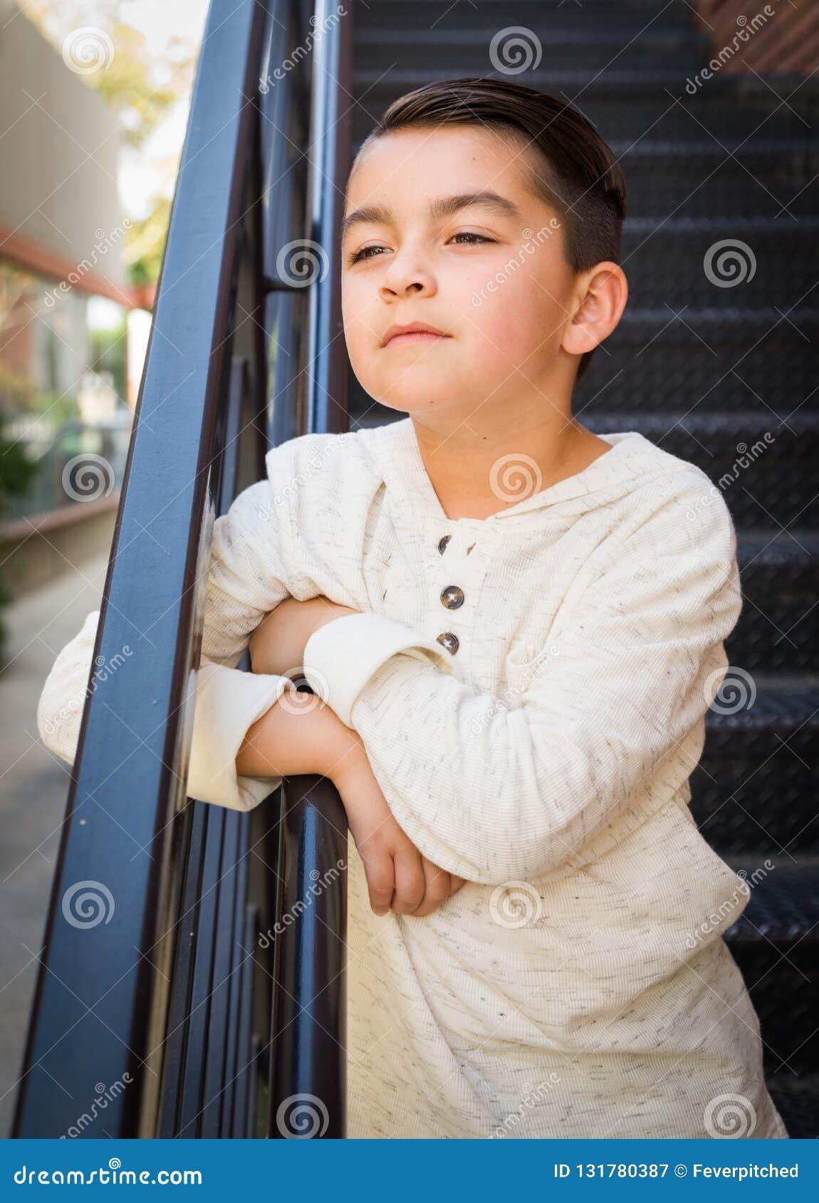 Mixed Race Young Hispanic Caucasian Boy