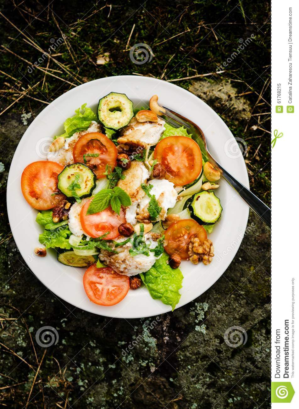 Mixed Salad With Goat Cheese And Roasted Vegetables Stock ...