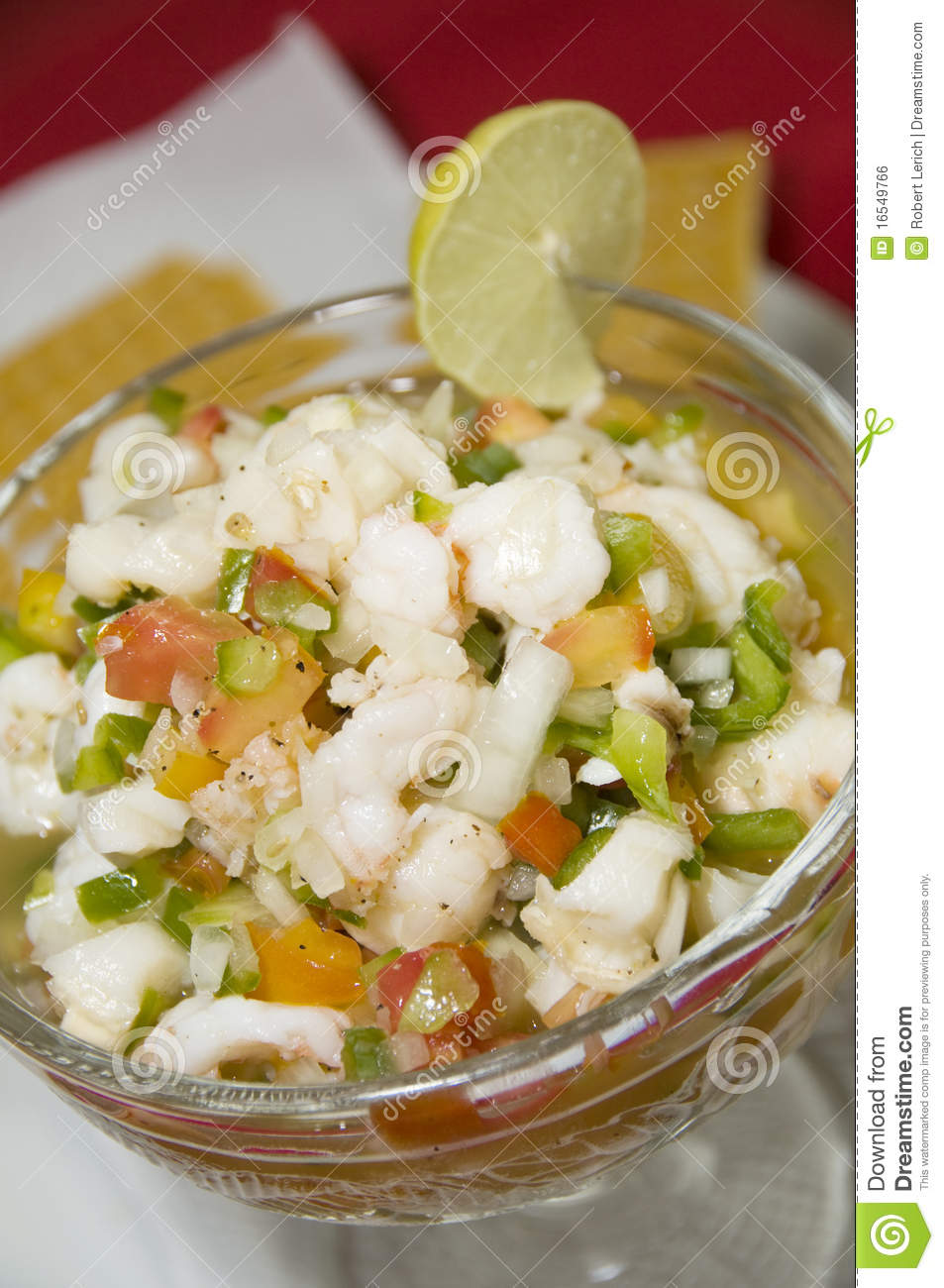 Mixed seafood ceviche lobster shrimp conch as photographed in Corn ...